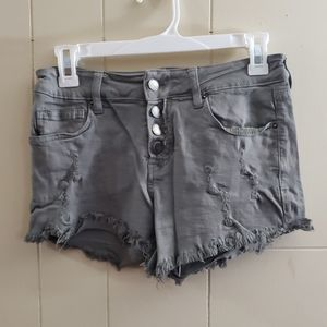 Distressed high-waisted shorts